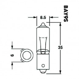 Ampoule plots décalés BA9S 12V/23W