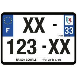 Plaque immatriculation moto 210x130mmm