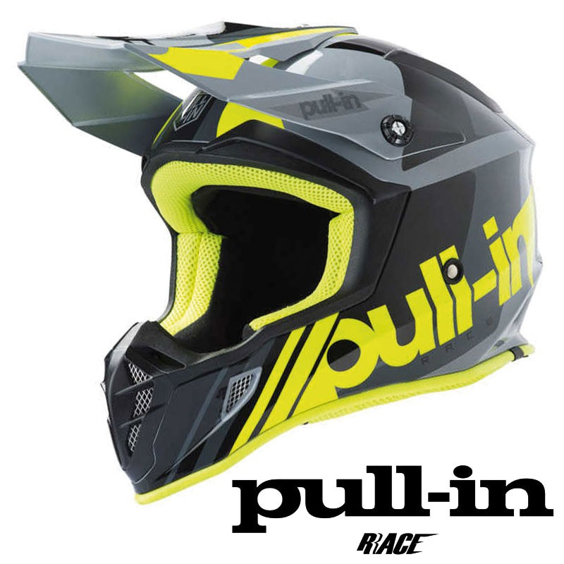 Casque PULL IN RACE 2019 Grey-Yellow flo