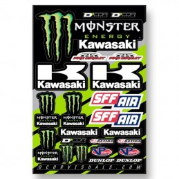 Planche stickers Team Monster energy KAWASAKI
