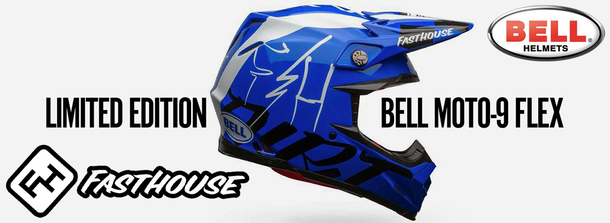 Casque BELL Moto-9 Flex Fasthouse DID 2020 Blue-White